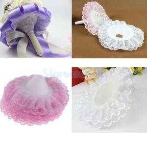 10pcs Hot DIY Wedding Bridal Flower Decor Bouquet Handle Holder Lace Collar