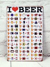I Love Beer Vintage Metal Tin Sign Funny Bar Pub Shop Decor Poster Advertising