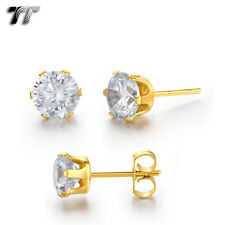 TT 18K GP Stainless Steel Clear CZ Round Stud Earrings 3mm-8mm (ER09A) 2018 NEW