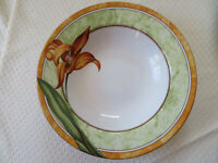 "222 Fifth EMILY orange DAY LILY  floral flower Rim Soup Bowls 9 1/4 "" - Lot of 2"