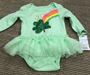 """Cat & Jack Baby Girl Green Rainbow Romper """"Lucky"""" 3-6 Months NWT"""