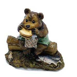 Wee Forest Folk Miniature Figurine Lunch on a Log Bear BB3