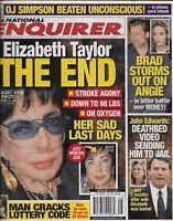 National Enquirer Tabloid Magazine Elizabeth Taylor John Edwards Angelina Jolie
