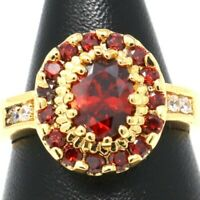 2 Ct Oval Red Ruby Halo Ring Women Jewelry 14K Yellow Gold Plated Size 5 6 7 8 9