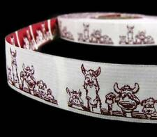 """1 Yd SALE Funny Farm Animals Woven Jacquard Embroidered Ribbon 1""""W"""