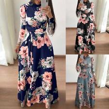 Women's Long Sleeve Floral Maxi Dress Beach Cocktail Evening Party Sundress Slim