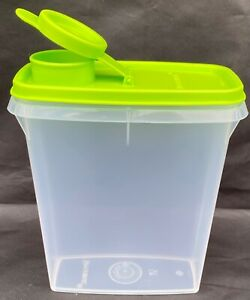 Tupperware Mini Cereal Storer/Keeper Jr 3.5 cups w/Lime Green Flip Top Seal New