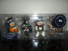 Canada Christmas Set of 4 Wooden Penguin Black Bear Snowman Moose Cheese Buttons