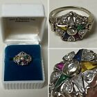 """1940's """"Order of the Eastern Star"""" Solid 14kt Multi-stone/Natural Diamond ring"""