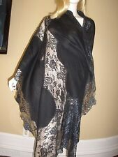 NEW $2K SOLD OUT VALENTINO LARGE BLACK LACE AND CASHMERE FRENCH LACE SHAWL/WRAP