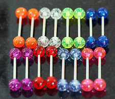 20 Pc (10 pairs) Different Color Glitter Stripe Tongue Rings Nipple Barbells