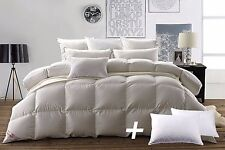 White Goose Down Queen Size Bedding Comforter Set and 2pcs Goose Feather Pillows