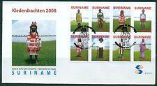SURINAME UITGAVE 2008 FDC 312 A/B KLEDERDRACHTEN 2008.
