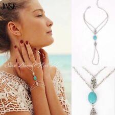 Turquoise Singapore Twist Chain Link Finger Ring Slave Hand Harness Bracelet