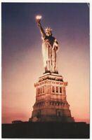 Statue of Liberty Under Lights New York City NY Vintage Postcard