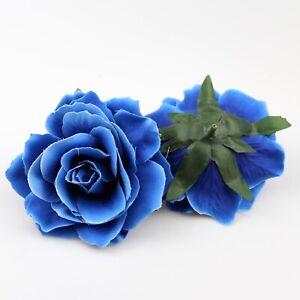 Big Sapphire Silk Rose Head Artificial Flowers Party Wedding Bouquet DIY Decor