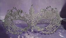 Silver Grey Lace Diamante Masquerade Mask New Year's Party Balls Proms Weddings