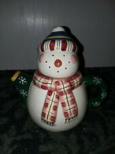 Debbie Mumm Marshmellow Snowman Mini Teapot Sakura Earthenware Handpainted NEW