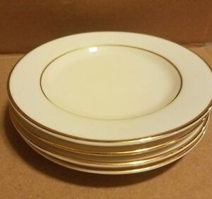 Ten Strawberry Street Gold Double Line can cup saucers no cups Set of 4,
