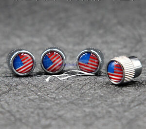 4pcs USA United States Chrome Metal Wheel Air Tyre Tire Valve Stems Cap For Ford