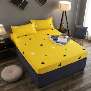 Fashion Bed Fitted Sheet Cover Mattress Protector Bedding for Full Queen King