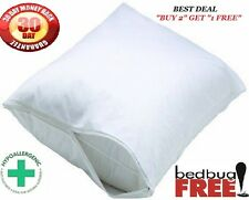 2 QUEEN WHITE HOTEL HYPOALLERGENIC PILLOWCASE ZIPPERED BED BUG PROTECTOR COVER +