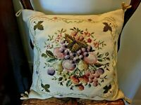 Vintage 16 X 16  AUBUSSON Wool Needlepoint Pillow~Floral & Fruit~Zipper~Cording