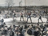 1860 BLOODY BLACKGUARD PRIZE-FIGHT HEENAN VS SAYERS HARPER'S WEEKLY HAND COLORED