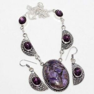 Copper Charoite Amethyst 925 Sterling Silver Plated Necklace Earrings Set GW