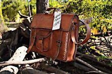 """15"""" Large Genuine Vintage Leather Messenger Shoulder Laptop Bag Leather Bag"""