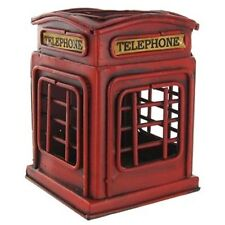 """RED """"TELEPHONE BOOTH"""" PEN HOLDER & Home Décor METAL/TIN  RETRO STYLE COLLECTIBLE"""