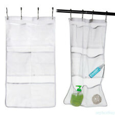 6Pocket Bathroom Tub Shower Bath Hanging Mesh Organizer Storage Bag Polyester H8