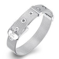 MENDINO Men's Women's 316L Stainless Steel Bracelet Mesh Cuff Bangle Silver 8mm