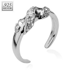Cz Adjustable Toe Ring .925 Sterling Silver Solitaire