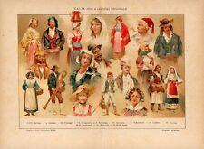 Stampa antica ITALIA costumi tradizionali regionali con Brianza 1910 Old print