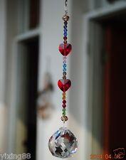 crystal feng shui ball  hanging  red heart ornament sun catcher rainbow