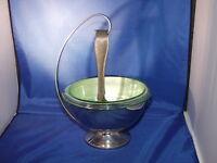 Green Hazel Atlas Ice Bowl w/Silver Holder & Tongs