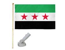 New listing 5' Wooden Flag Pole Kit W/ Nylon White Bracket 3x5 Syria Republic Polyester Flag