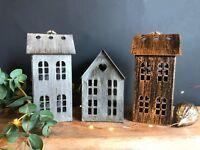 Rustic Metal House Lantern Tea Light Holder Metallic Copper Grey Zinc Hanging