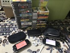 Sony PlayStation Portable PSP Lot - 2 PSPs, 23 Games, 16 Movies, Box, Cases