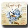 A PERFECT CUP OF TEA  VINTAGE RETRO  METAL TIN SIGN WALL CLOCK