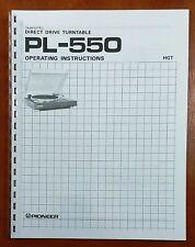 Pioneer PL-550 Turntable Owners Manual