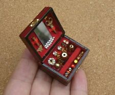 Doll House Miniature Vintage Jewellery Box with accessories 1:12 Scale