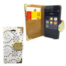 Fundas y carcasas brillantes en piel color principal blanco para teléfonos móviles y PDAs