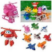 8Pcs/Kit Super Wings Transforming Plane Toy Robot Korea TV Animation Character