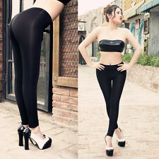 Women Ladies Sheer Crotchless Lingerie See Through Long Stretch Leggings Pants