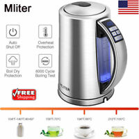1.7L Cordless Electric Tea Kettle Kitchen Hot Water Stainless Steel Boil Jug LED