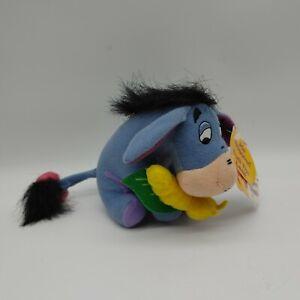 "Applause Winnie the Pooh EEYORE WIGGLER 6"" Plush Tog Pull Leaf & He Wiggles RARE"