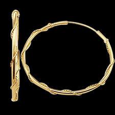 """14k Yellow Gold Hoop Earrings Twist Vine Rope, 0.65"""""""