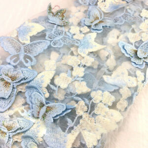 3D Butterfly Embroidered Fabric Lace Embroidery Tulle Wedding Dress Decor Cloth